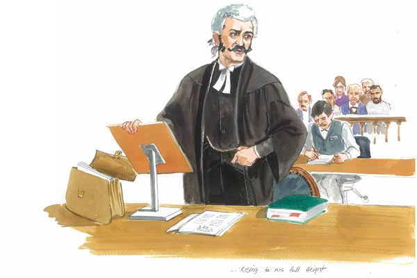 Courtroom art in watercolor for DVD (Launceston museum)